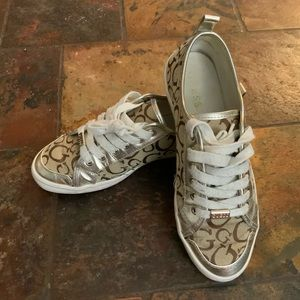 Guess gold and brown lace up sneakers